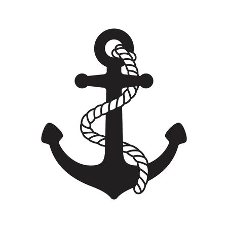 Anchor vector icon logo boat symbol pirate Nautical helm maritime ocean sea illustration