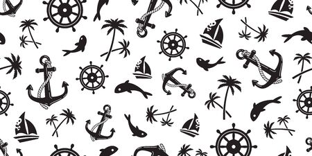 Anchor seamless pattern vector boat pirate helm palm tree maritime Nautical ocean sea repeat wallpaper scarf isolated tile background