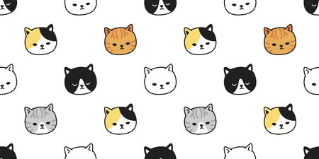 cat seamless pattern vector kitten calico pet breed scarf isolated repeat wallpaper tile background cartoon illustration