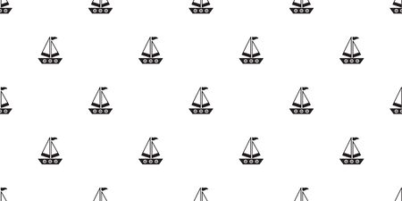 boat seamless pattern vector Anchor helm pirate maritime Nautical sea ocean repeat wallpaper scarf isolated tile background doodle