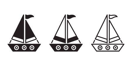 boat vector ship icon logo pirate sailboat yacht cartoon anchor helm symbol nautical maritime illustration graphic doodle