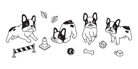 dog vector french bulldog icon bone toy ball cartoon character symbol illustration design