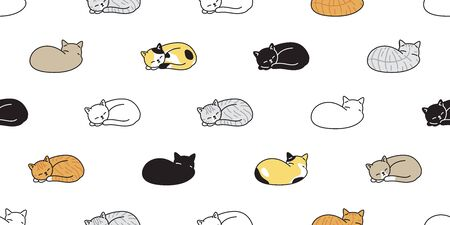cat seamless pattern vector kitten calico sleeping scarf isolated cartoon tile wallpaper repeat background illustration design Illustration