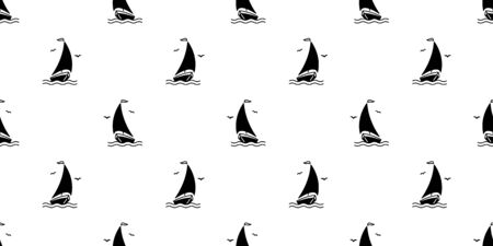 boat seamless pattern vector Anchor helm pirate maritime Nautical sea ocean Seagull scarf isolated repeat wallpaper tile background doodle design