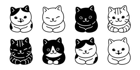 cat vector kitten breed calico icon logo symbol cartoon character illustration white doodle design Illustration