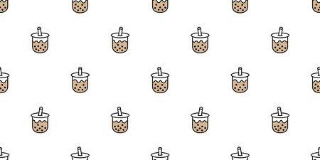 Boba tea seamless pattern vector bubble milk tea scarf isolated repeat wallpaper tile background illustration doodle design