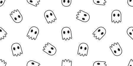 Ghost seamless pattern vector Halloween spooky devil evil cartoon illustration gift wrap doodle design