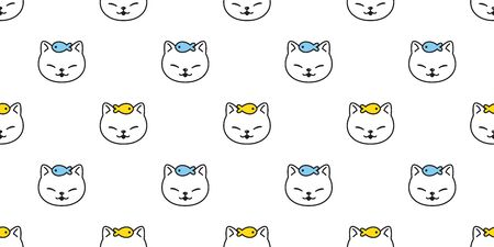 cat seamless pattern vector kitten fish scarf isolated repeat background tile wallpaper cartoon illustration doodle design
