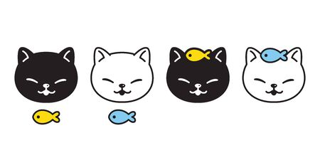 cat vector kitten icon head fish logo symbol cartoon character doodle illustration design