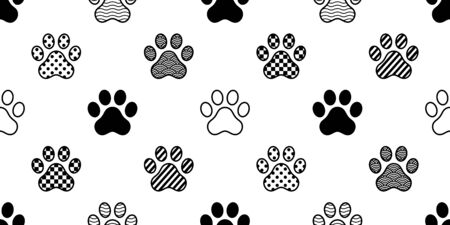 dog paw seamless pattern vector footprint checked polka dot heart stripes french bulldog cartoon scarf isolated repeat wallpaper tile background illustration doodle design Иллюстрация