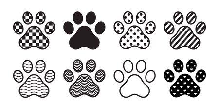 dog paw vector icon footprint checked pattern polka dot heart stripes french bulldog cartoon symbol character illustration doodle design Иллюстрация