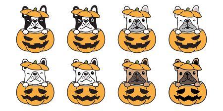 dog vector french bulldog pumpkin Halloween icon logo symbol cartoon character illustration doodle design