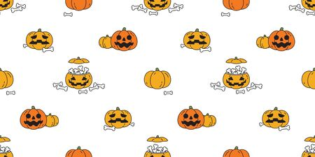 pumpkin Halloween seamless pattern vector bone scarf isolated repeat wallpaper ghost tile background illustration icon symbol cartoon doodle design