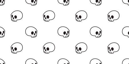 skull Halloween seamless pattern vector bone ghost scarf isolated repeat wallpaper tile background cartoon doodle illustration design