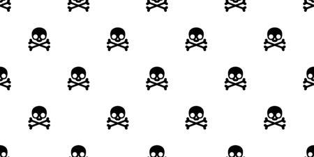 skull pirate crossbones seamless pattern Halloween vector symbol bone ghost scarf isolated tile background repeat wallpaper cartoon doodle illustration white design Иллюстрация
