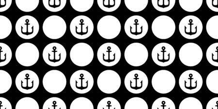 Anchor seamless pattern vector boat pirate helm maritime Nautical polka dot repeat wallpaper scarf isolated tile background design Иллюстрация