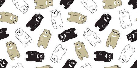 Bear seamless pattern polar bear vector scarf isolated cartoon repeat background tile wallpaper illustration doodle design