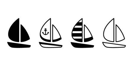 boat vector icon yacht logo symbol Anchor pirate maritime Nautical sea ocean doodle character cartoon illustration doodle design Иллюстрация