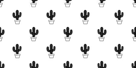 cactus seamless pattern vector Desert botanica flower summer garden plant scarf isolated repeat wallpaper tile background doodle illustration design