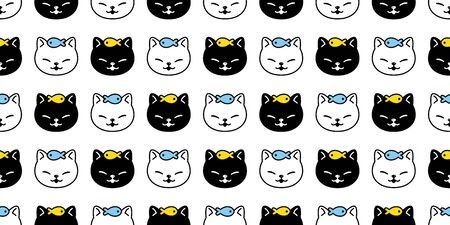 cat seamless pattern vector kitten fish scarf isolated repeat background tile wallpaper cartoon doodle illustration design