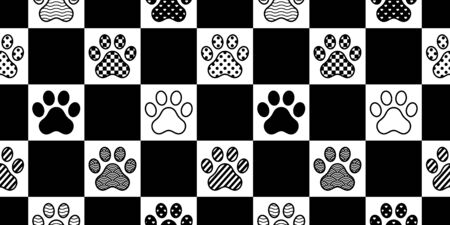 dog paw seamless pattern footprint vector checked polka dot heart stripes french bulldog cartoon scarf isolated repeat wallpaper tile background illustration doodle design Иллюстрация