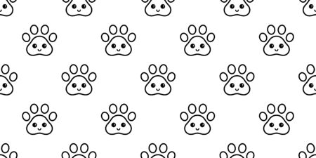dog paw seamless pattern footprint vector french bulldog smile face cartoon scarf isolated repeat wallpaper tile background illustration doodle design