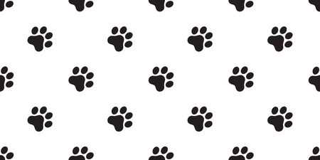 dog paw seamless pattern vector footprint french bulldog cartoon scarf isolated repeat wallpaper tile background illustration doodle design Иллюстрация