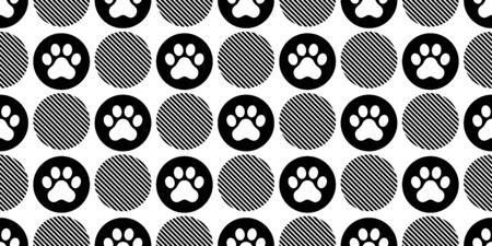dog paw seamless pattern vector footprint polka dot french bulldog cartoon scarf isolated repeat wallpaper tile background illustration doodle design Иллюстрация