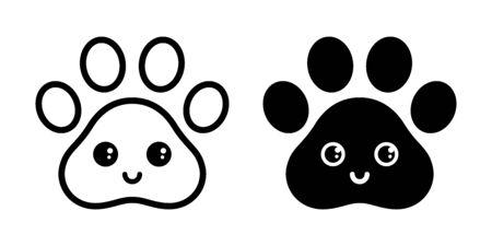 dog paw vector icon footprint smile face emoticon french bulldog cartoon symbol character illustration doodle design Иллюстрация