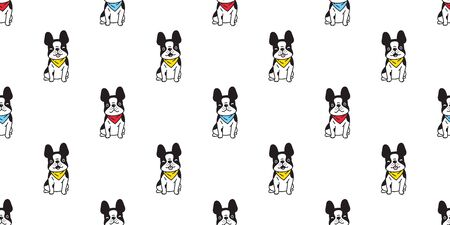 dog seamless pattern vector french bulldog cartoon scarf isolated repeat wallpaper tile background illustration doodle design Иллюстрация