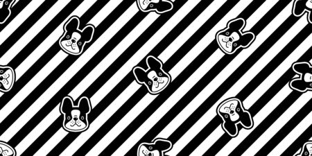 dog seamless pattern vector french bulldog cartoon stripes scarf isolated repeat background tile wallpaper illustration doodle design Иллюстрация