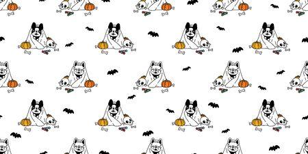 dog seamless pattern vector french bulldog Halloween pumpkin scarf isolated repeat wallpaper tile background cartoon ghost spooky bone bat candy doodle illustration design Иллюстрация