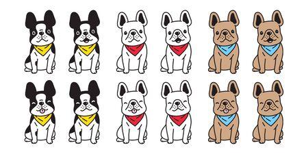dog vector french bulldog icon sitting scarf cartoon character symbol doodle illustration design