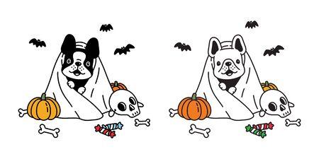dog vector french bulldog pumpkin Halloween icon character cartoon ghost spooky bone bat candy logo symbol doodle illustration design Иллюстрация