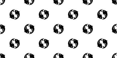 fish Seamless pattern vector shark salmon tuna scarf isolated dolphin whale ocean sea repeat wallpaper tile background animal cartoon doodle illustration design