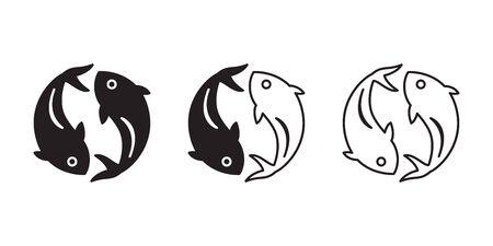 fish vector icon shark salmon tuna character cartoon symbol illustration doodle design Иллюстрация
