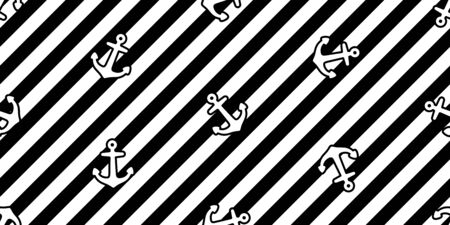 Anchor seamless pattern stripes vector boat pirate helm maritime Nautical ocean sea repeat wallpaper scarf isolated tile background design Иллюстрация