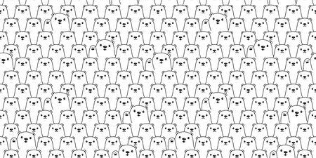 Bear seamless pattern polar bear vector teddy scarf isolated cartoon repeat background tile wallpaper illustration doodle design