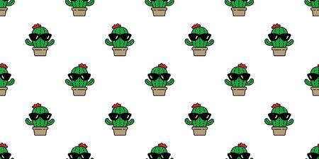 cactus seamless pattern vector Desert botanica flower garden plant scarf isolated sunglasses repeat wallpaper tile background cartoon doodle illustration design