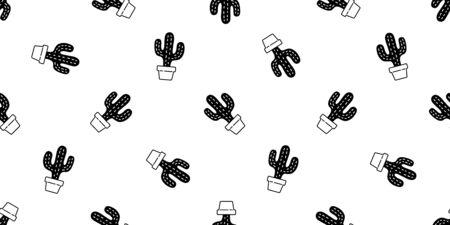 cactus seamless pattern vector Desert botanica flower garden plant summer scarf isolated repeat wallpaper tile background doodle illustration design