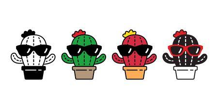 cactus vector Desert flower icon logo botanica character cartoon plant garden symbol illustration doodle design