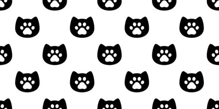 cat seamless pattern dog vector paw footprint kitten head cartoon scarf isolated repeat wallpaper tile background illustration doodle design
