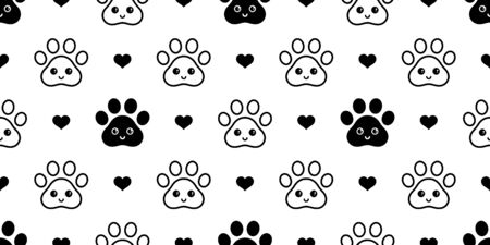 dog paw seamless pattern footprint heart vector valentine french bulldog smile face cartoon scarf isolated repeat wallpaper tile background illustration doodle design