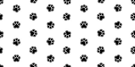 dog paw seamless pattern vector footprint french bulldog cartoon scarf isolated repeat wallpaper tile background doodle illustration design Иллюстрация