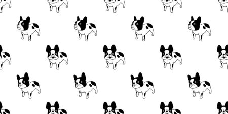 dog seamless pattern french bulldog vector cartoon scarf isolated christmas tile wallpaper repeat background illustration doodle design