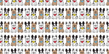 dog seamless pattern vector french bulldog collar sitting scarf isolated cartoon repeat background puppy breed tile wallpaper illustration doodle design