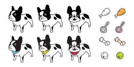 dog vector french bulldog puppy collor bone toy ball icon cartoon character symbol breed illustration doodle design Иллюстрация