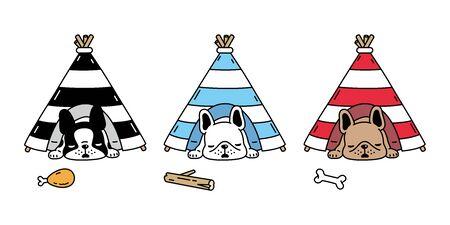 dog vector french bulldog tent house sleeping puppy bone toy icon cartoon character breed doodle symbol illustration design Иллюстрация