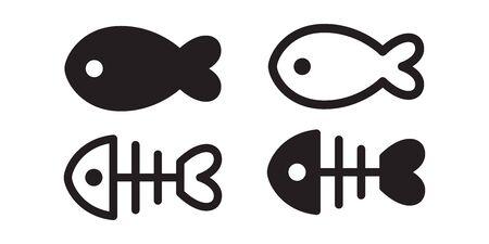 fish vector icon logo shark salmon tuna character cartoon symbol illustration doodle design