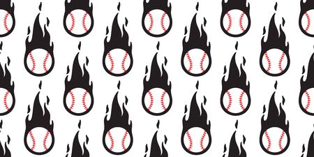 baseball fire seamless pattern vector softball sport cartoon scarf isolated repeat wallpaper tile background illustration doodle design